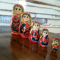 Nesting Dolls, Hand Painted Russian Nesting Doll Set of 5, Red Flowers, Wooden Stacking Dollies, FREE US Shipping