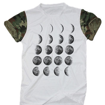 Moon Phases Lunar Shirt White Camo Camouflage T-Shirt Size S M L