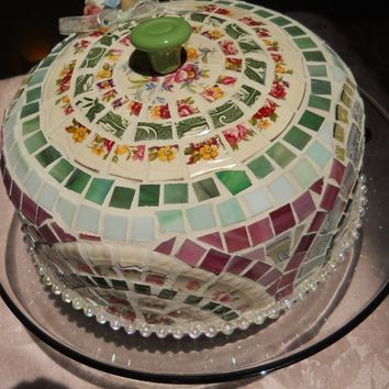 Broken cut China Mosaic Cake Dome handmade w Glass Pedestal Cake Stand