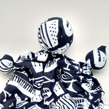 "Baby Soothing Toy - Handmade Baby Gift - Black and White - Soft Doll - Plush - Lovey Doll - New Baby Gift - 100% Cotton Flannel 11'-12"" Tall"