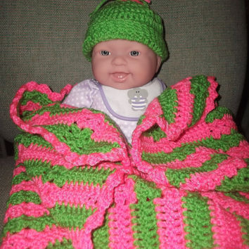 Crochet Hot Pink and Lime Green Baby Blanket with two Matching Hats Spring Easter Baby Girl