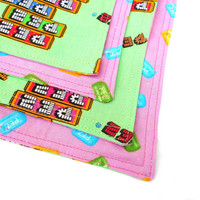 PEZ Candy Double Sided Lunch Cloth Napkins -Set of Two Pink Seafoam Green Retro Bento Lunch Cloth Napkins