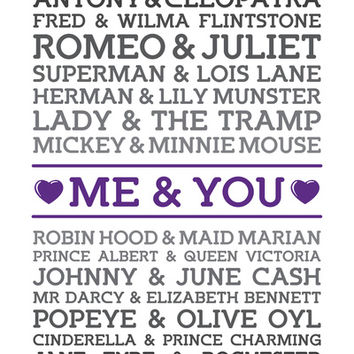 Me and You (with Famous Couples) Print Art Print by Noonday Design | Society6