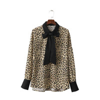 Women sexy leopard loose shirts bow tie neck long sleeve oversized blouses office wear ladies casual brand tops blusas LT1414