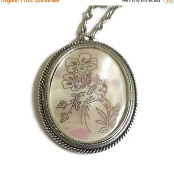 Whiting & Davis Pendant Necklace Etched Bird and Flowers on Mother of Pearl Vintage
