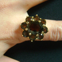 Gold Toned Plating Flower Shaped Chocolate Brown Smoky Quartz Stone Glass Cabochon Classic and Elegant Lovely Ladies Cocktail Ring Size 10