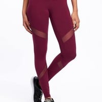 Go-Dry High-Rise Mesh-Panel Tights for Women | Old Navy