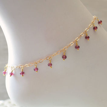 NEW Garnet Anklet, Genuine Dark Red Gemstone Dangles, Boho, Indian Inspired, January Birthstone Jewelry, Gold Filled, Free Shipping