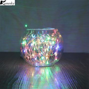Konesky RGB Solar Lamp 100-LED Copper Wire String Light 2 Modes Auto On for Bottle Fairy Lights Wedding Decoration