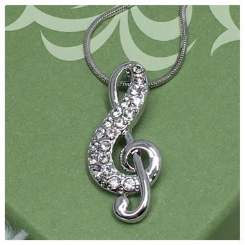 Beautiful Eye Catching Crystal Accented Musical Note Pendant Necklace