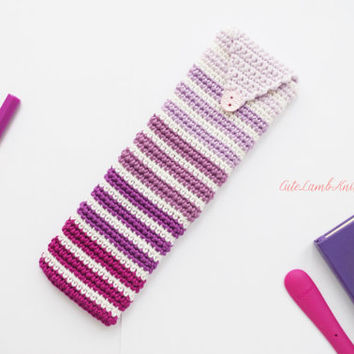 Crochet Pencil case, crochet purple ombre Pencil Case, crochet study essentials, crochet pen case, study accessories, study essentials