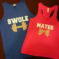 2 Tone Swole Mates Couples Work Out Tanks or Tshirts. Couples Swole Mates gym Shirts. Couples shirts. Couples Fitness tanks