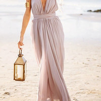 Gray Deep V Neck Tie Waist Pleated Maxi Dress