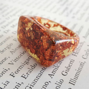 Resin ring, Copper Flakes, ring Flakes red gold, Resin ring, Gift, Resin Jewelry, Copper jewelry, Copper ring, Minimal ring, golden leaf