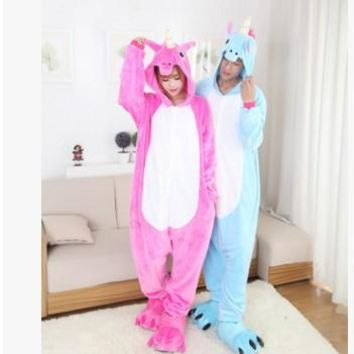 free pp Christmas Halloween Blue/Pink Candy Unicorn Onesuit Carnival Costumes for Adults Women Men Fleece Party Pajamas Sleepwear