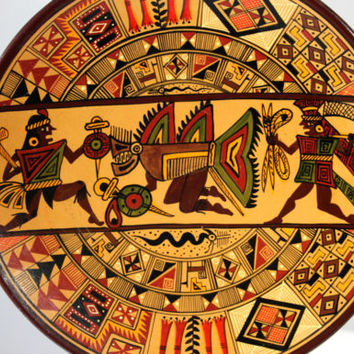 Vintage Aztec Mayan Hand Painted Clay Warrior Plate