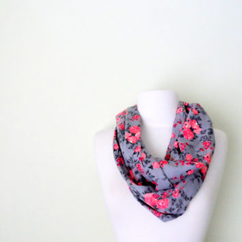 Grey and Pink Rose Jersey Knit  Infinity Scarf-Double Wrap, Long, Different Ways to Wear, Trendy and Modern