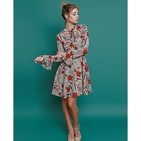 Tied In Dress - Beige Foral Print