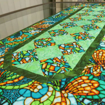 Table Runner Quilted Art Glass Olive 614
