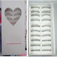 10 Pairs Professional Make-up Party Artificial Eyelashes with Heart Designed Box