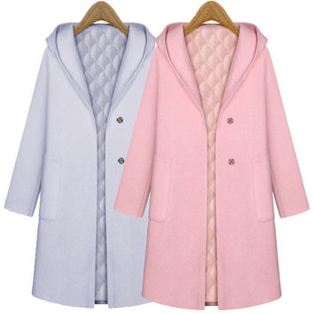 Plain Long-Sleeve Hoodie Button Coat