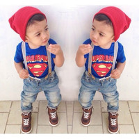 2015 Fashion Brand Summer Baby Boys Set Cotton SUPERBABY T-shirt+Straps Jeans Casual Clothes Handsome Kids Suit For 2-7 Years