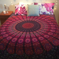 Pink Blue Feather Mandala Wall Hanging Bedspread Beach Throw – TheNanoDesigns