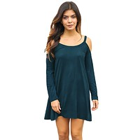 Blue Sexy Cute Cold Shoulder Flared Cotton Dress