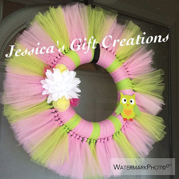 Owl Tulle Wreath/Owl Lovers/Door Decor/Bedroom Wall Decor/Nursery/Birthday Gift/Just Because