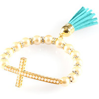 K.D. Rosaries Pearl Gold Cross Tassel