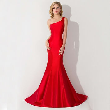 Real Image 2016 Sexy New New Arrival One Shoulder Taffeta Evening Ball Party Dress Long Maxi Robe Elegant Mermaid Red Prom Dresses 2015 CPS077 = 1956859908
