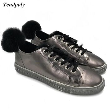 Fall and winter new Korean plus cashmere leather shoes Rabbit ball flat  Hot explosion models fashion wild student Women's shoes