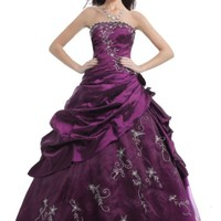 Faironly M37 Strapless Prom Dress Stock (M, Purple)