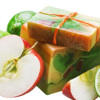 Green Lime Apple Balkan-Style Yogurt Shea Butter Contoured Soap Shea Butter Yogurt Body Soap Balkan-Style Summer Scented Soap Bar