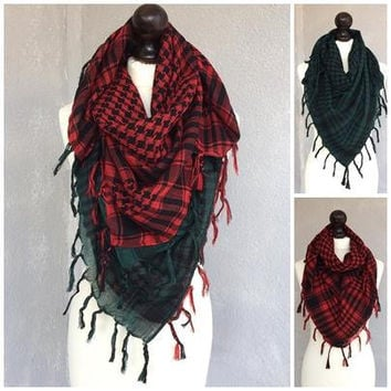 Plaid Christmas Scarf, Square Men Scarf, Cotton Tartan Scarf, Houndstooth Scarf, Checkered Scarf, Women Summer Scarf, Christmas Gift