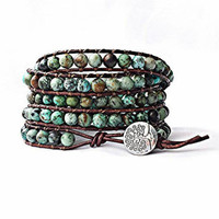 african turquoise leather wrap bracelet, beaded wrap bracelet, leather bracelet, gemstone leather wrap bracelet, boho tree of life jewelry