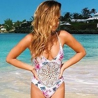 Frankie's Bikinis Poppy One Piece - Floral Stripe