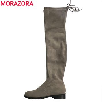 MORAZORA Plus size 34-43 2017 New Women Stretch Faux Suede Over the Knee Boots Flat Thigh High Boots Sexy Fashion Shoes Woman