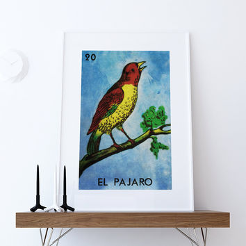 Loteria El Pajaro Mexican Retro Illustration Art Print Vintage Giclee on Cotton Canvas and Paper Canvas Poster Wall Decor