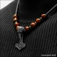 Raven Head Viking Mjolnir Hammer Totem On Leather Cord Necklace with Gemstone Accent Beads