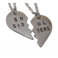Soul Sisters Silver Heart Necklace - 2 pcs set