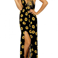 Sunflower Printed Backless Maxi Dress