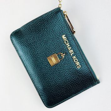 Michael Kors Jet Set Travel Zip Coin Wallet ID Keyring Card Holder Deep Teal