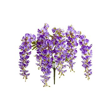 "Lavender Silk Wisteria Hanging Flowers Bush - 28"" Tall"