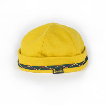 Dr. Martens Skull Cap Beanie / Vintage Yellow Gold / Green Tribal Embroidered Band / Doc Martens size small 6 3/4 55cm