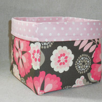 Dark Gray and Pink Floral Fabric Basket