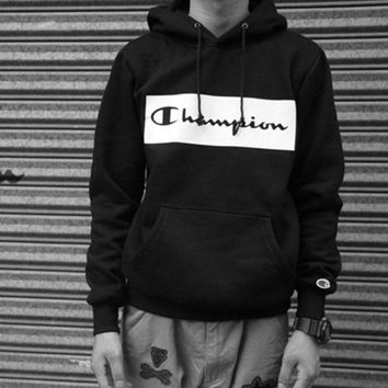 Tide brand Champion couple sets the first set of sweaters velvet hoods small Sweater box logo printing Black