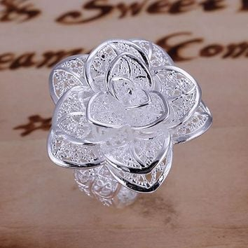 Women's silver plated rings engagement wedding Bridal jewelry R116  , Flower Ring  wedding rings anelli donna R116