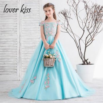 Lover Kiss Pretty A-Line Turquoise Big Girls Wedding Dresses