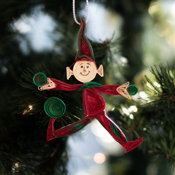 Christmas Ornament - Elf Ornament in Red and Green - Quirky Christmas Ornaments - Whimsical Christmas Ornament - Quilled Elf Ornament